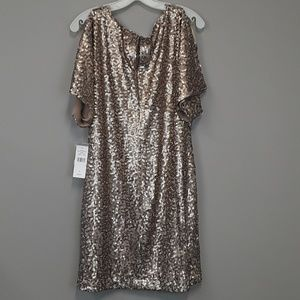 A. L. Fashion sequened cold shoulder dress